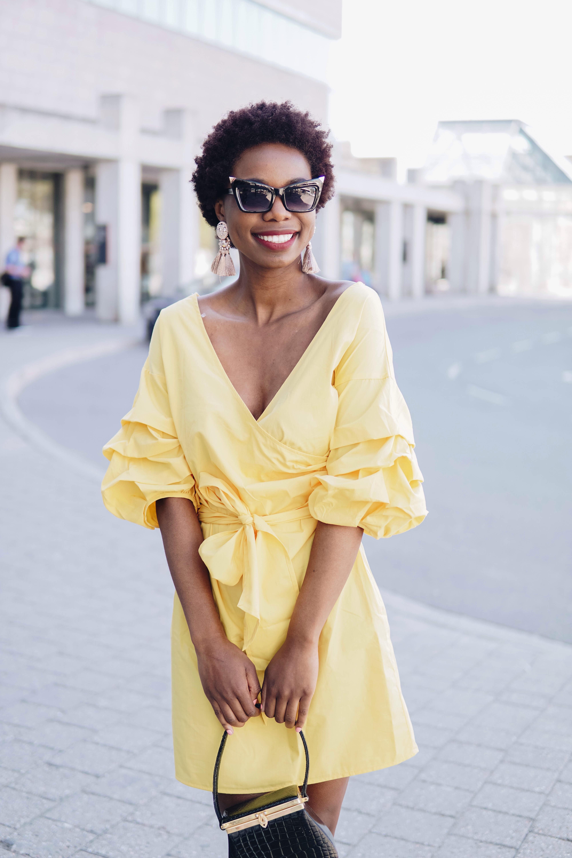 Puffy Sleeve Yellow Dress